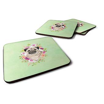 Set of 4 Fawn Pug Green Flowers Foam Coasters Set of 4