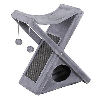 PawHut Two Tier Cat Tree Play Rest Activity Tower Plush Folding Relax Center w/ Scratching Post Hammock Pom Poms Grey
