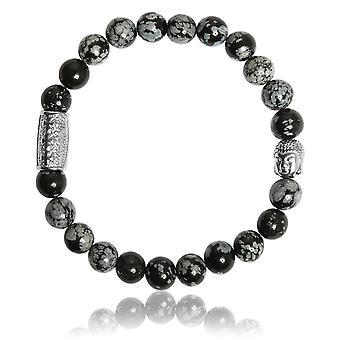 Lauren Steven Design ML046 Bracelet - Obsidian Natural Stone Bracelet Human Snowflake