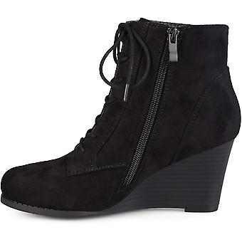 Brinley Co Womens Lace-up Faux Suede Stacked Wedge Booties