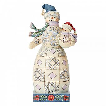 Jim Shore Heartwood Creek Bundled In Love Snowman With Snowbaby Figurine