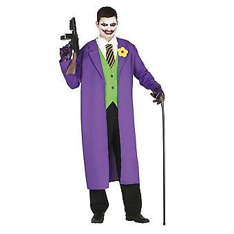 Mens The Joker Fancy Dress Costume Villain Halloween