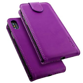 For iPhone XS,X Case,iCoverLover Vertical Flip Genuine Leather Cover,Purple