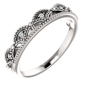 14k White Gold Round 1.2mm Polished .04 Dwt Diamond Crown Ring  Size 6.5 Jewelry Gifts for Women