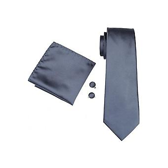 JSS Mens Plain Grey 100% Silk Pocket Square, Cufflink And Tie Set