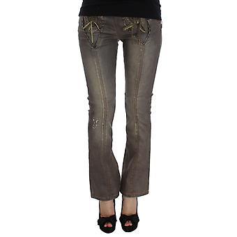 Cavalli Gray Wash Cotton Blend Slim Fit Bootcut Jeans