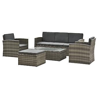 Outsunny Rattan Garden Furniture Outdoor Patio 5 Piece Wicker Weave Sofa Set with Storage,  Cushioned, 3-Seater Sofa + 2 Single Chairs + Foot Stool + Coffee Table
