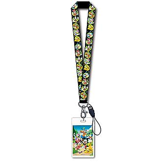 Lanyard - Disney - Mickey & Gang Black w/ Card Holder New Gifts Toys 24888