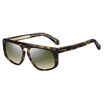Givenchy GV7125/S 086/EZ Dark Havana/Green Gradient-Silver Mirror Sunglasses