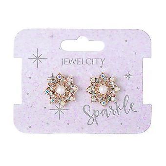 Sparkle Womens/Ladies Pearl and Diamante Stud Earrings