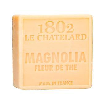 Savon de Marseille 1802 Le Chatelard- Magnolia tea blossoms - without palm oil subtle-herb fragrance with Mediterranean flair 100 g