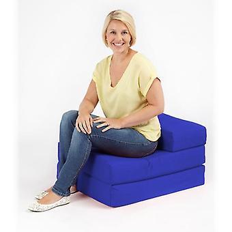 Letto stabile pronto Confortevole qualità suprema 100% Cotone singolo piegato - Sedia da letto Futon in nero. Morbido, confortevole e leggero con coperchio rimovibile (Royal Blue)