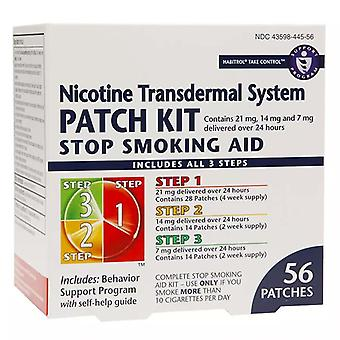 Habitrol nicotine transdermal system patches, steps 1/2/3, 56 ea