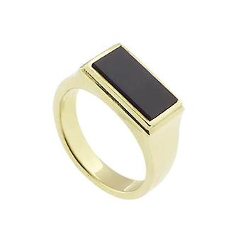 Yellow gold seal ring with onyx
