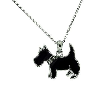 TOC Silvertone Base Metal Black Epoxy Scottie Dog Pendant Necklace 16+2