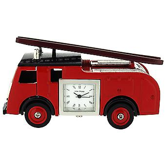 Miniature Red Fire Engine Truck Ornament Novelty Collectors Clock 9860