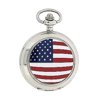 Boxx American Flag White Dial Gents Dress Pocket Watch 12 Inch Chain Boxx124
