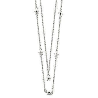 925 Sterling Zilver Zwart en Wit CZ Kubieke Zirconia Gesimuleerde Diamond Stars gelaagde ketting 16 inch sieraden geschenken voor