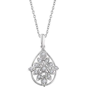 925 Sterling Silver Polished 0.17 Dwt Diamond Granulated Filigree Necklace Jewelry Gifts for Women