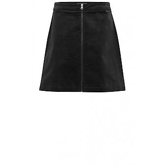 b.young Black Cord Skirt