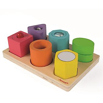 Janod I Wood Shapes and Sounds 6-Block Puzzle