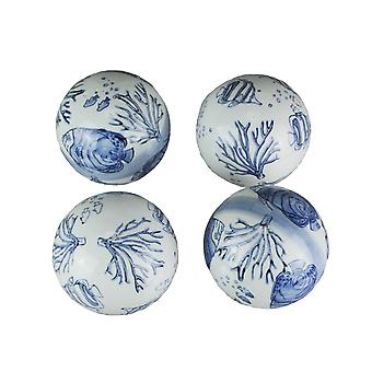 Blå och vit 4 tums diameter tropiska havet Liv Porslin Decor Bollar 4 Piece Set