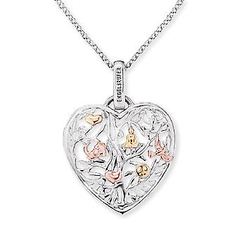 Angel Whisperer Tree Of Life Sterling Silver Rhodium Rose Gold Plated Necklace ERN-HEARTTREE-TRICO