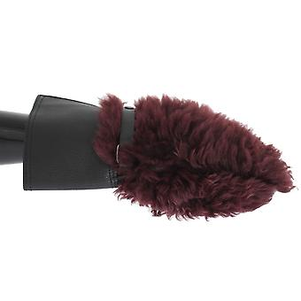 Dolce & Gabbana Black Leather Bordeaux Shearling Gloves