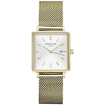 Rosefield boxy Quartz Analog Women Watch with QWSG-Q03 Gold Plated Stainless Steel Bracelet