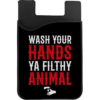 Vask hendene du skitten dyr telefonkort holder