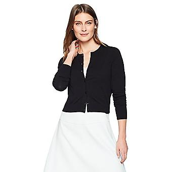 Brand - Lark & Ro Women's Crewneck Cropped Cardigan Sweater, Black, X-...