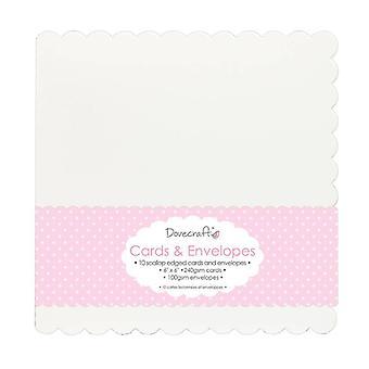 Dovecraft 10 Die Cut Scallop Edged 6x6 Cartes & Enveloppes