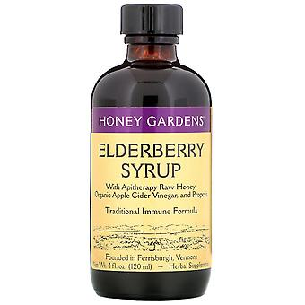 Honey Gardens, Elderberry Syrup with Apitherapy Raw Honey, Propolis and Elderber