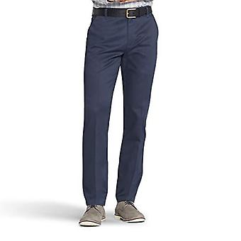 LEE Men's Total Freedom Stretch Slim Fit Flat Front Pant, Navy, 34W x 32L