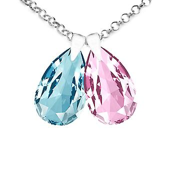 Ah! Jewellery Womens 16mm Aquamarine & Light Rose Double Pear Necklace