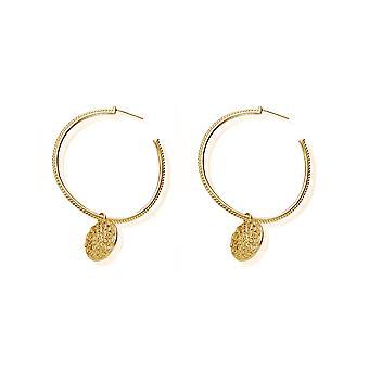 ChloBo Gold Moon Flower Hoop Earrings