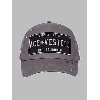 Ace Vestiti Paint Splatt Plated Mens Baseball Cap - Grey
