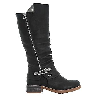 Rieker Black Knee Length Cowboy Inspired Boot With Buckle Detail