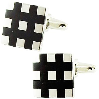 Solmiot Planet Silver & Black Check Cufflinks
