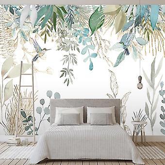 Foto Wallpaper Modern Hand-painted Tropical Plant Leaves Flowers And Birds Murals Living Room Bedroom Waterproof Wall Painting (1 )