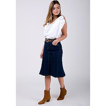 Kim stretch denim flared skirt - darkwash