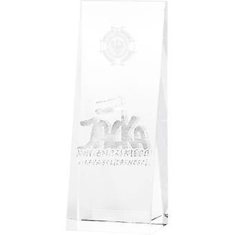Trofeo de cristal con grabado 3D en bolsa