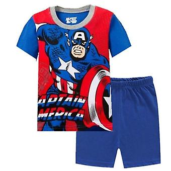 Kid Boy Girl Pyjamas Sommar Bomull Kortärmad T Shirt Sleepwear Set-2