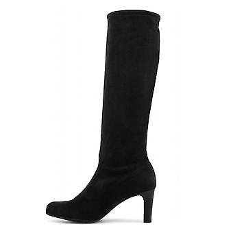 Peter Kaiser Levke Pull On Stretch Knee High Boots In Black Suede