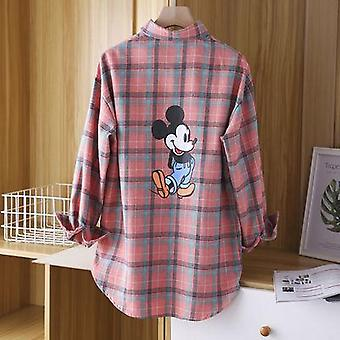 Spring Simple Lady Plaid Shirt Back Retro Printing Mickey Mouse Plaid Shirt Female Blouse