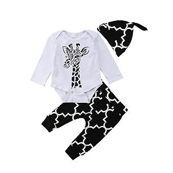 Baby Boys Clothes - Cotton, Deer Long Sleeve, Romper+ Pants +hat Outfits