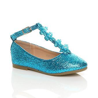 Ajvani flickor platt t-bar glitter bröllop brudtärna klä upp kostym princess skor ballerinor