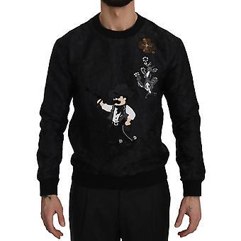 Dolce & Gabbana Black Brocade Cowboy Embroidered Sweater