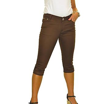 Women's Everyday Low Rise 3/4 Length Crop Capri Pants Stretch Skinny Jeans Chino Sheen Turn Ups Brown 8-16