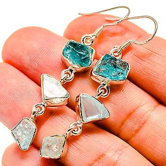 """Blue Fluorite, Aquamarine Earrings 2 1/4"""" (925 Sterling Silver)  - Handmade Boho Vintage Jewelry EARR408018"""